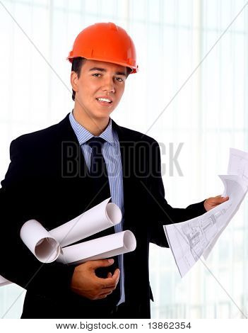 yuong construction worker isolated on white
