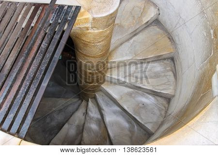Spiral downstairs of the Leaning Tower in Pisa Italy