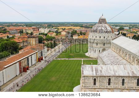 Pisa Italy - June 29 2015: View from Leaning Tower to Cathedral and Baptisery of St. John