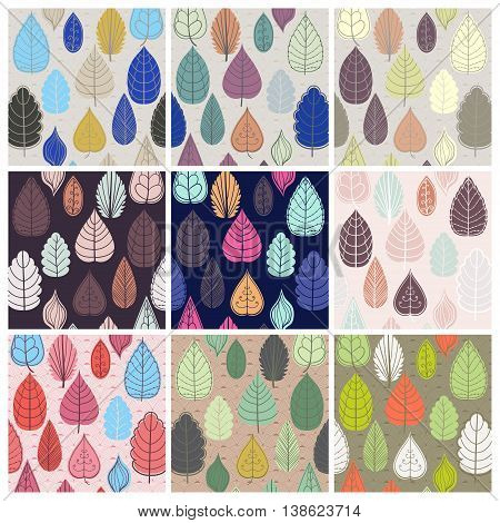 Set of pattern with autumn leaf. Abstract leaf texture, endless background. pattern can be used for wallpaper, pattern fills, web page background, surface textures.
