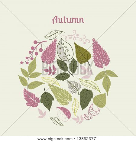 Vector composition made of leaves. Round shape made of different kinds of leaves.Vintage background. Bright outlines made from leaf things. Lettering