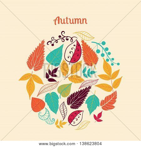 Vector composition made of leaves. Round shape made of different kinds of leaves.Vintage background. Bright outlines made from leaf things. Lettering.