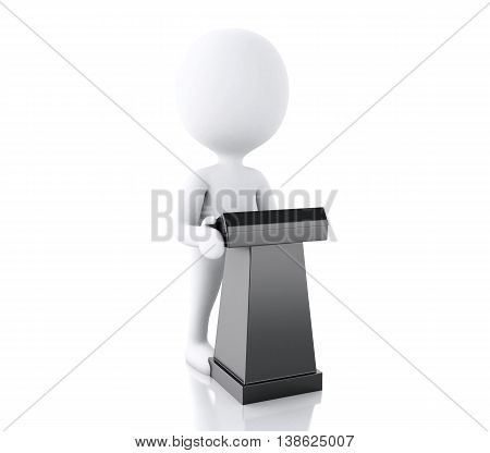 3d renderer image. White people speaking at a conference. Isolated white background.