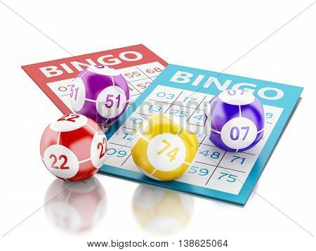 3d renderer image. Bingo cards with colorful bingo balls. Isolated white background.