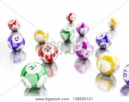 3d renderer image. Colorful bingo balls. Games concept. Isolated white background.