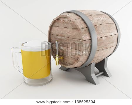 3d renderer image. Beer barrel with frosty glass of beer. Isolated white background.