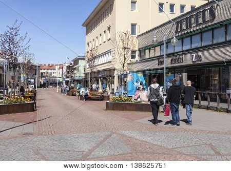 MARIEHAMN, ALAND ON MAY 07. View of a small town center on May 07, 2016 in Mariehamn, Aland. Unidentified people relax in the sunny spring. Editorial use.