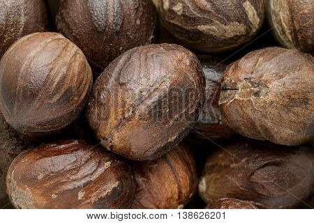 Organic Mature Organic Nutmeg (Myristica fragrans). Macro close up background texture. Top view.
