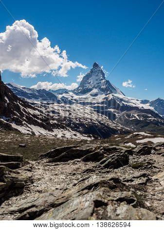 Matterhorn peak in sunny day view from Rotenboden train station Zermatt Switzerland.
