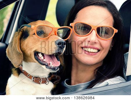 Smiling Woman With Beagle