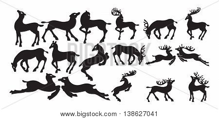 Deer collection - vector silhouette, isolated on white.