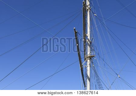 The masts and rigging on a full-rigged ship.