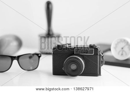 group of old traveler accessories and lifestyle on white background