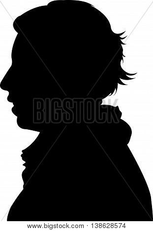 a gril head black color silhouette vector