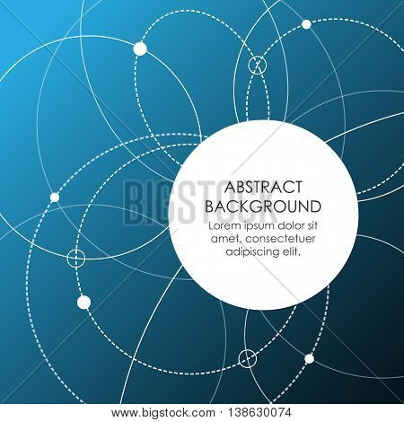 Abstract background with sphere and atomic circles. Empty space for text. Science and high technology theme.