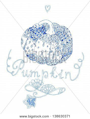 Doodle pumpkin in blue tones. Decorative pumpkin with ornamental pattern. Card for Thanksgiving. Vector illustration.