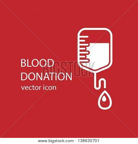 Blood donation bag, flat style icon, medical aid, hospital supply