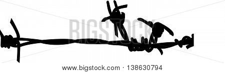 black color silhouette vector of wired fence
