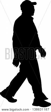 walking old man body black color silhouette vector