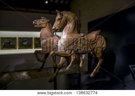 CHANTILLY, FRANCE - MAY 14, 2015: This is one of the exhibits of the Museum of Horses which contains all possible images sculptures and carousel associated with horses.