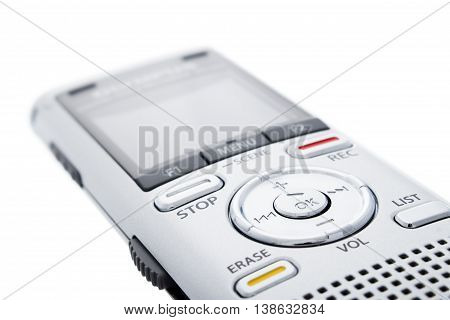 Digital Voice Recorder, Dictaphone On White Background