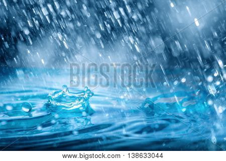 Blue Drops falling down of heavy rain weather on water