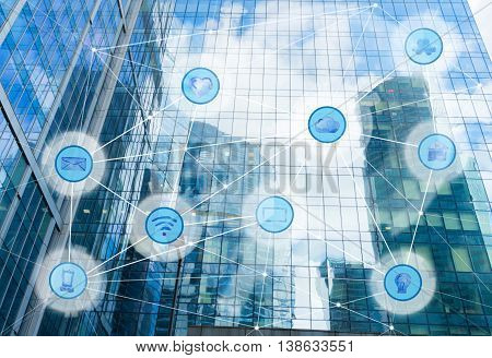 skyscrapers and wireless communication network, IoT Internet of Things and ICT Information Communication Technology concept