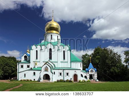 PUSHKIN RUSSIA - JULY 14 2016: View of the Orthodox Fedorovskiy Cathedral (1909-1912 architect Vladimir Pokrovsky) used to be a home church of the Imperial Family July 14 2016
