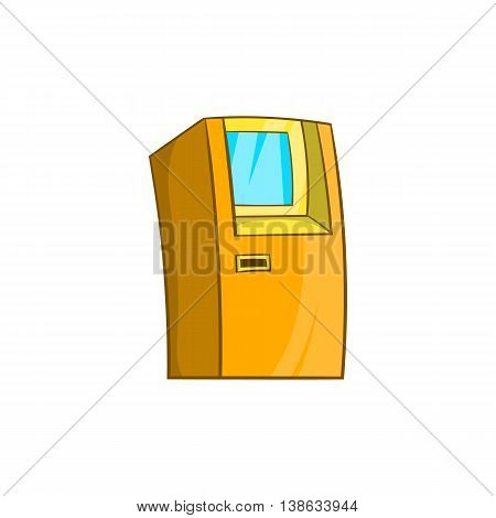 ATM bank cash machine icon in cartoon style on a white background