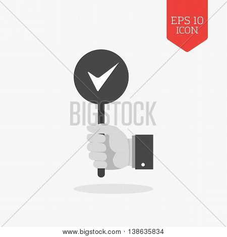 Hand Holding Accept, Right Sign Icon. Flat Design Gray Color Symbol. Modern Ui Web Navigation, Sign.