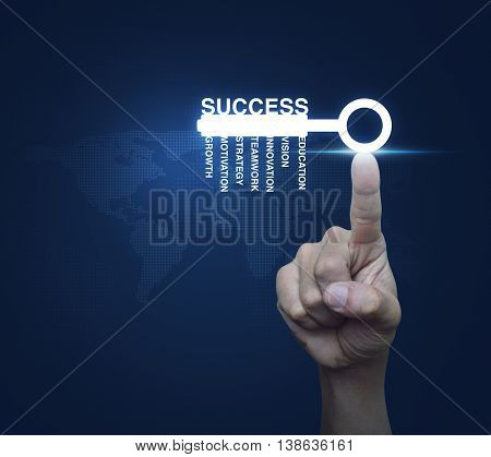 Hand pressing key with business words over digital world map blue background Success concept Elements of this image furnished by NASA
