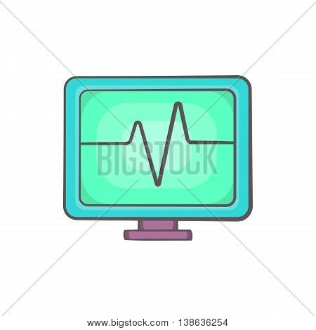 Electrocardiogram monitor icon in cartoon style on a white background