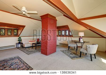 Large Upstairs Living Room With Cozy Sitting Area.