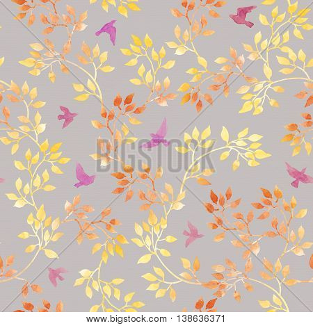Autumn leaves and cute birds. Water color autumn seamless pattern in naive design
