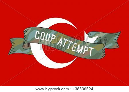Flag of Turkey with military ribbon and message Coup Attempt. Graphic design and symbol of coup attempt in Turkey. Vector Illustration