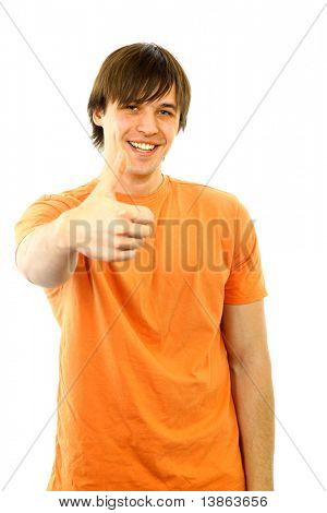 Portrait of a smart young guy gesturing a thumbs up on white background