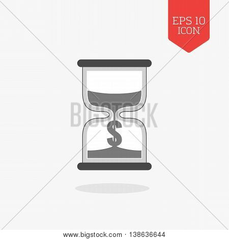 Hourglass With Dollar Sign Icon, Time Is Money Concept. Flat Design Gray Color Symbol. Modern Ui Web