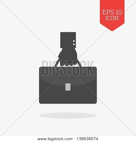 Hand Holding Briefcase Icon. Flat Design Gray Color Symbol. Modern Ui Web Navigation, Sign.