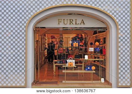 VIENNA AUSTRIA - JUNE 6 2016: Facade of the Furla flagship store in the street of Vienna of June 6 2016. Furla is an Italian luxury company founded in 1927.