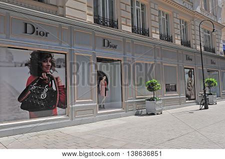 VIENNA AUSTRIA - JUNE 6 2016: Facade of Christian Dior flagship store in the street of Vienna of June 6 2016. Christian Dior is a world famous french luxury company founded in 1946.
