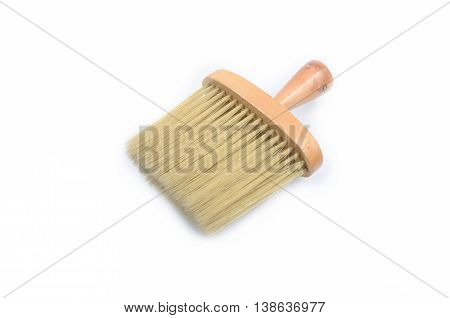 Paintbrush with synthetic bristles isolated on white background