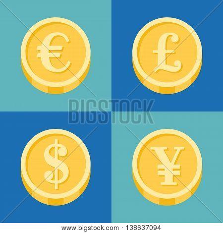 Different coins icon set, flat design euro, pound, us, dollar