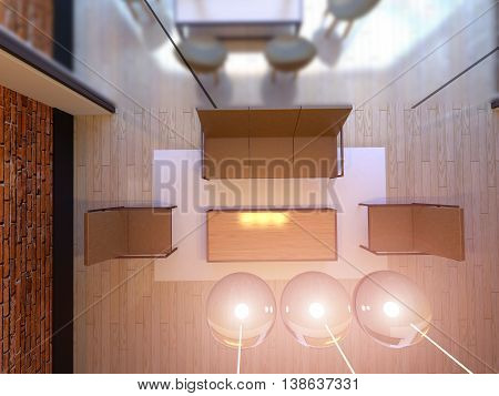 Top View. 3D Rendering Of Office Space