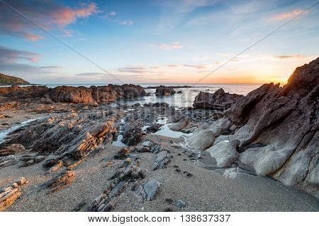 Sunset At Hemmick Beach In Cornwall