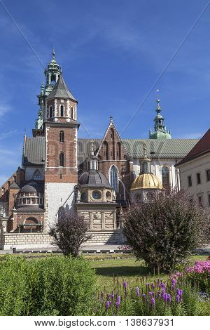 Wawel Cathedral - coronation place of Polish kings- on Wawel Hill Krakow Poland