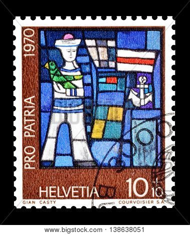 SWITZERLAND - CIRCA 1970 : Cancelled postage stamp printed by Switzerland, that shows Sailor of Gian Casty.