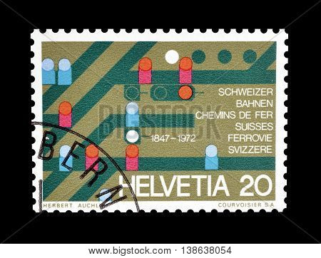 SWITZERLAND - CIRCA 1972 : Cancelled postage stamp printed by Switzerland, that shows Adjustment table showing railway tracks.