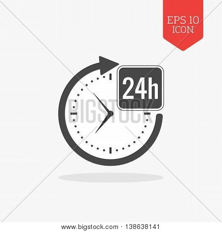24 Hours A Day Icon, Open Around The Clock Concept. Flat Design Gray Color Symbol. Modern Ui Web Nav