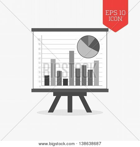 Whiteboard With Chart Icon, Statistics Concept. Flat Design Gray Color Symbol. Modern Ui Web Navigat