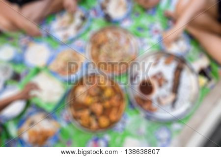 Blurred abstract background of eating Papaya Salad (Som tum)